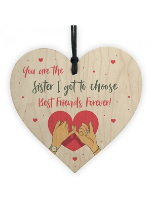 Thank You Sister Gift Best Friend Wood Heart Love Plaque