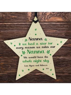 Nanna Christmas Birthday Gift Hanging Wooden Star Sign