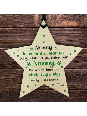 Nanna Christmas Birthday Gift Personalised Wooden Star Sign