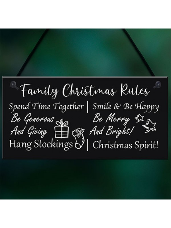 Funny Family Christmas Rules Sign Christmas Decoration Gift