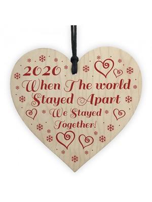 Lockdown Gift Hanging Wooden Heart Couple Gift Christmas Decor