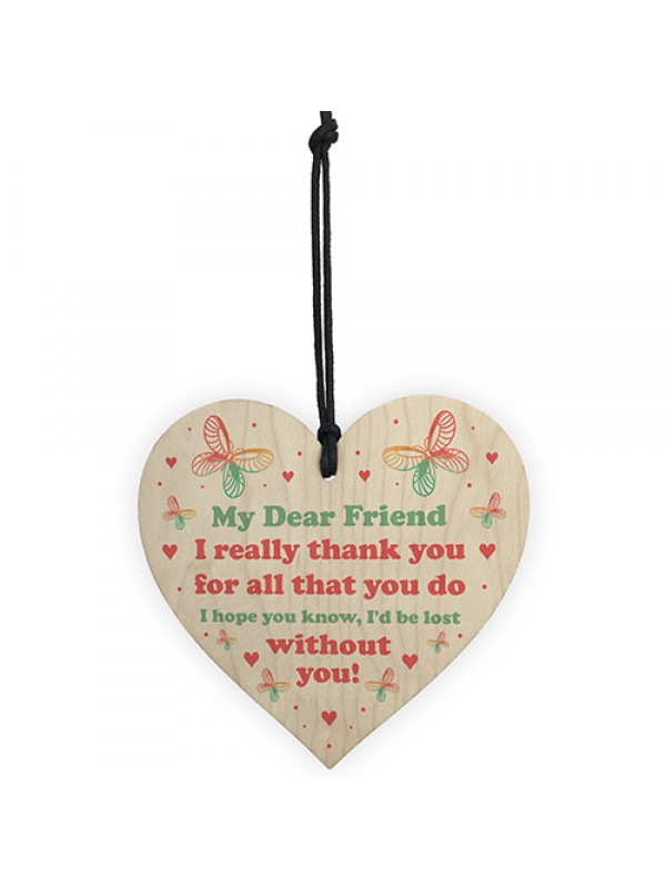Dear Friend Gift Wood Heart Birthday Christmas Gift