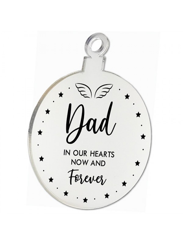 Dad Memorial Gift Mirror Acrylic Christmas Tree Decoration