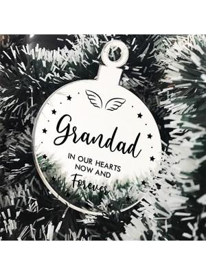 Grandad Memorial Gift Mirror Acrylic Christmas Tree Decoration
