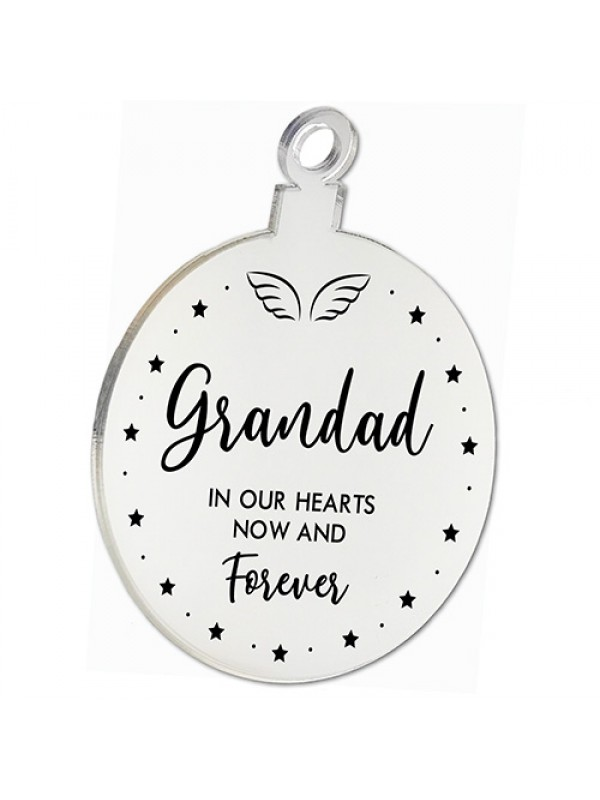 Grandad Memorial Gift Mirror Acrylic Christmas Tree Decoration