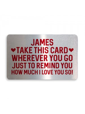 Personalised Love You Metal Card Birthday Xmas Gift For Him