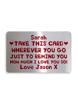 Personalised Love You Metal Card Birthday Christmas Gift