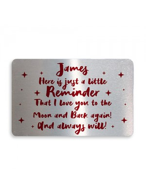 Personalised I Love You Keepsake Metal Card Anniversary Xmas