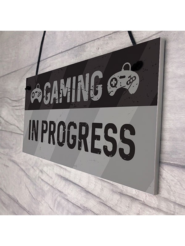 Novelty Gaming In Progress Sign For Boys Bedroom Man Cave