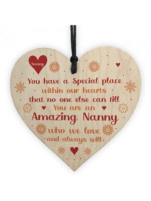 Amazing Nanny Gifts For Birthday Wooden Heart Sign Thank You