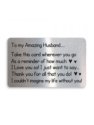 Keepsake Gift For Husband On Valentines Day Anniversary Card