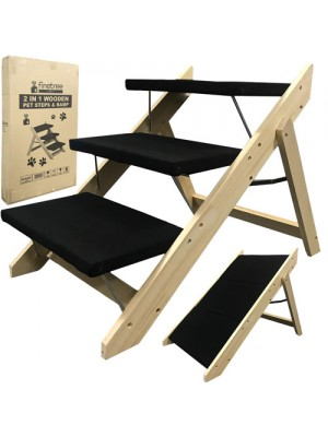 Portable Wooden 2-in-1 Pet Folding Dog Cat 3 Ramp Steps Stairs