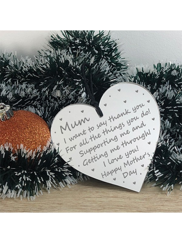 Personalised Mothers Day Gift For Mum Engraved Heart Gift