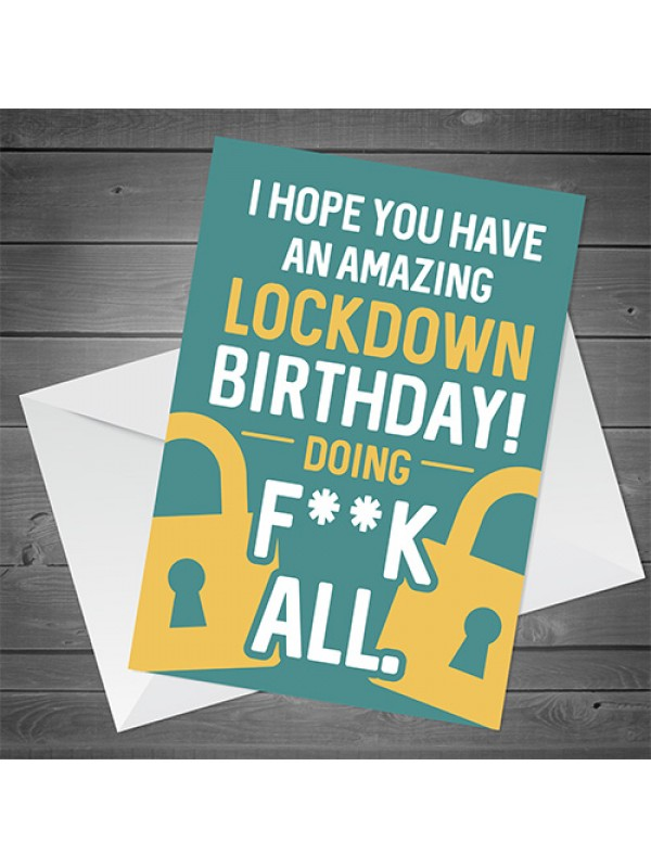 RUDE Birthday Card For Him Her Funny Birthday Card Lockdown