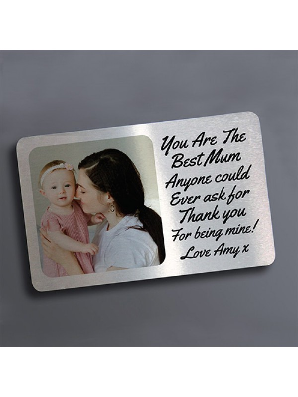Personalised Photo Metal Card Insert Mothers Day Birthday Gift