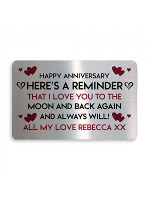 Anniversary Gift For Him Her PERSONALISED Metal Wallet Insert
