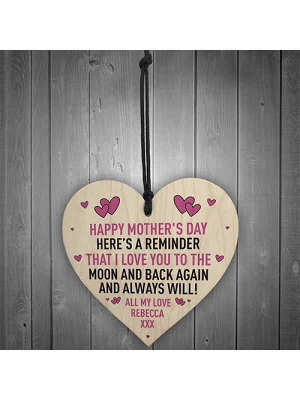 Mothers Day Gift PERSONALISED Wooden Heart Special Gift For Her
