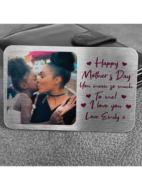 PERSONALISED Happy Mothers Day Gift Photo Metal Wallet Insert