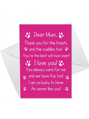 Funny Birthday Mothers Day Card For Mum From The Cat Poem