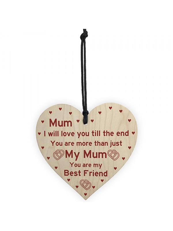 Mum Best Friend Gift Wooden Heart Birthday Mothers Day Gift