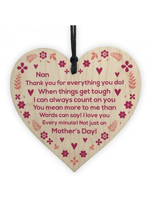 Mothers Day Gift For Nan Wood Heart Thank You Gift For Nan