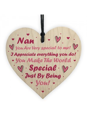 Novelty Wooden Heart Gift For Nan Mothers Day Birthday Gifts
