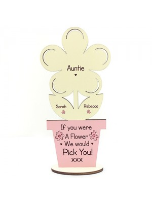 PERSONALISED Gift For Auntie Thank You Birthday Gift Wood Flower