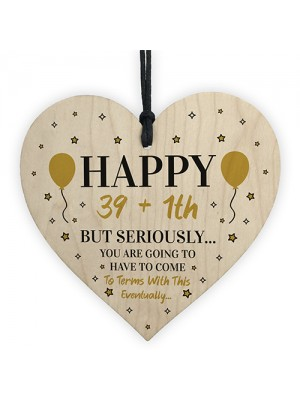 40th Birthday Funny Gift For Men Women Him Her Wood Heart Gift