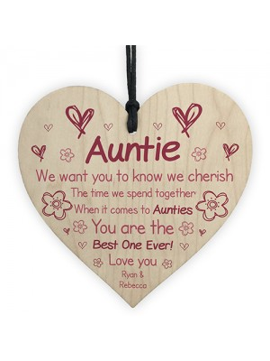 Personalised Wooden Heart Gift For Auntie Novelty Mothers Day