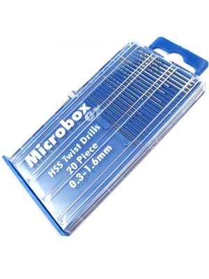 20PC Micro HSS Twist Drill Bit Set - 0.3mm to 1.6mm