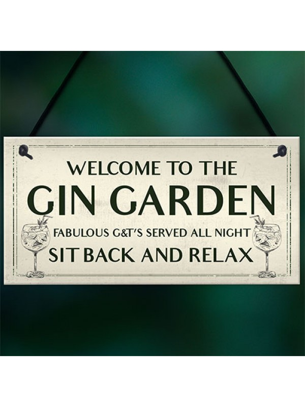 Gin Garden Welcome Sign Home Bar Garden Sign Bar Decor Gift