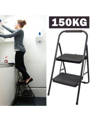 Foldable 2 Step Ladder Non Lip Tread Safety Small Stool Ladders