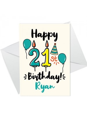 21st Birthday Card Boy Girl Personalised Card For Son Daughter