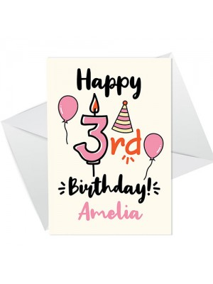 3rd Birthday Card For Daughter Granddaughter Personalised