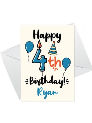 4th Birthday Card For Daughter Son Personalised Boy Girl