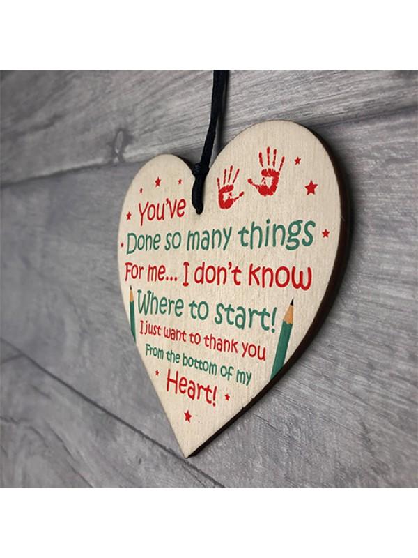 Novelty Teacher Gift Wood Heart Thank You Gift