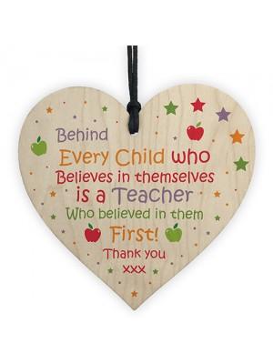 Cute Teacher Gifts Thank You Wooden Heart Leaving School Nursery