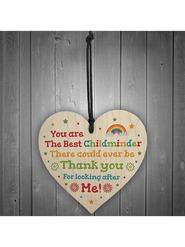 Thank You Childminder Gift Wood Heart Leaving Nursery Teacher