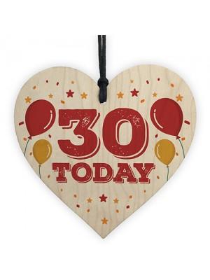 30th Birthday Decoration Wooden Heart Novelty Gift Tag Birthday