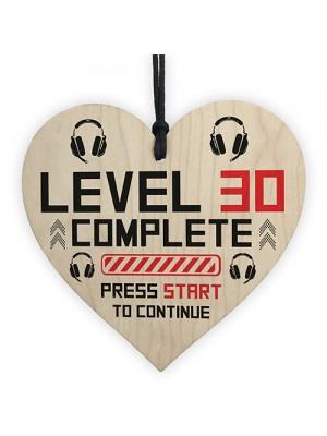 30th Birthday Gamer Gift Wooden Heart Novelty 30th Birthday Gift
