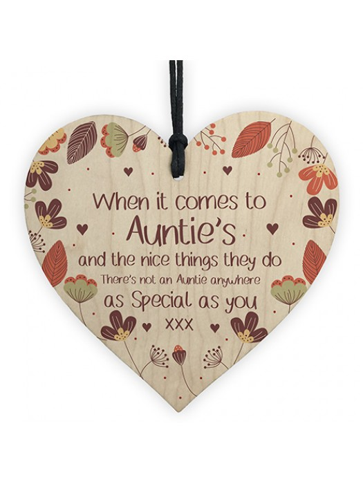 Gift For Auntie Wooden Heart Birthday Christmas Gift For Auntie