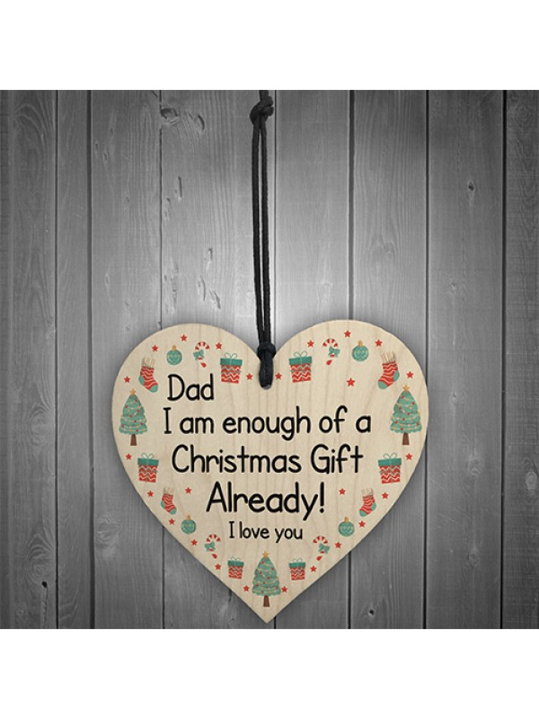 Funny Dad Christmas Gift From Daughter Son Novelty Wood Heart