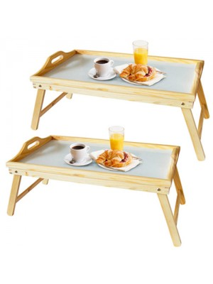 Set Of 2 Large Pinewood Wooden Folding Bed Breakfast Tray