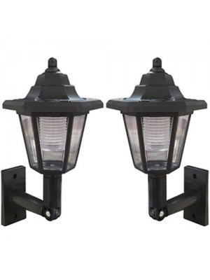 2 x Traditional Outdoor Black Solar Lantern