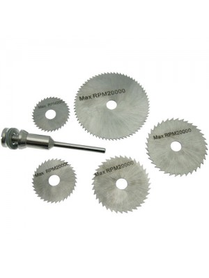 6 Pc HSS Saw Disc Wheel Blades - 22-44mm & Mandrel