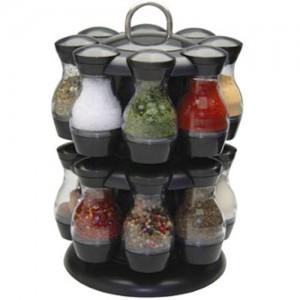 16 Jar Rotating Spinning Carousel Spice Herb Rack