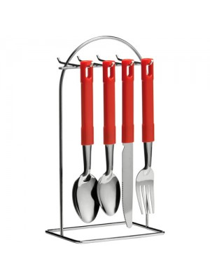 24 Pc Stainless Steel Tafa Cutlery Set + Wire Stand - Red