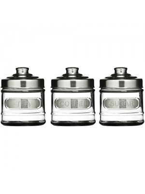 Set of 3 Tea, Coffee & Sugar Kitchen Glass Container Canisters
