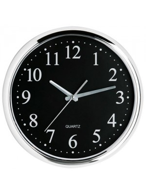 Large Modern Black Face Chrome Effect Wall Clock Home Office