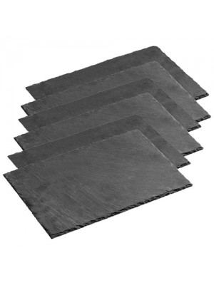 6 Piece Natural Elegant Slate Rectangle Dinner Dining Placemats